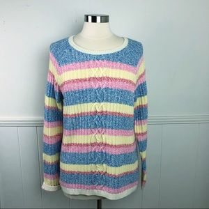 Talbots Pink Yellow Blue Stripe Knit Sweater